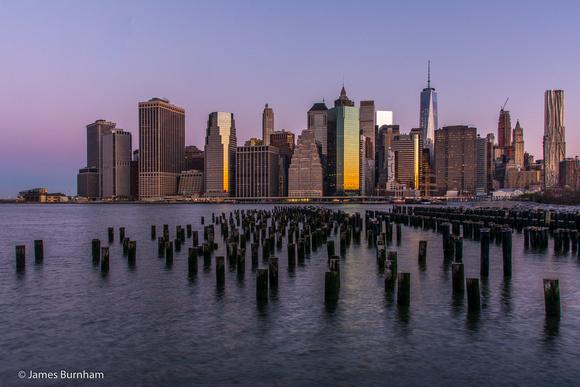 Sunrise on Manhattan from Brooklyn Bridge Park